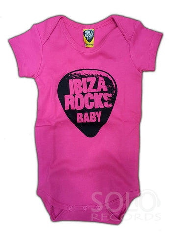 ibiza rocks baby grow body pink black
