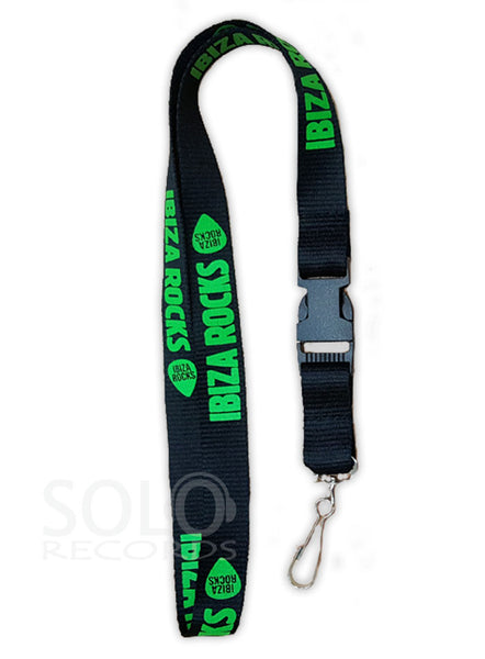 Ibiza Rocks Lanyard Green on Black