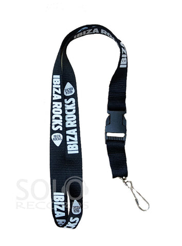Ibiza Rocks Lanyard White on Black