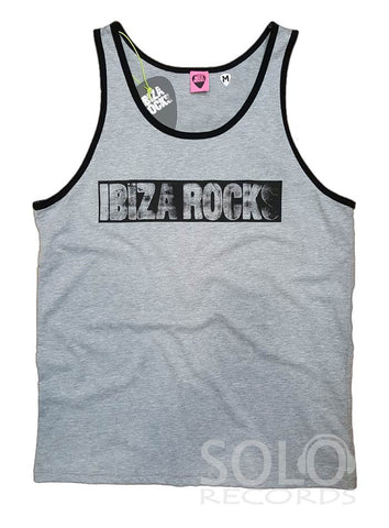 Ibiza rocks mens piped gym vest gray