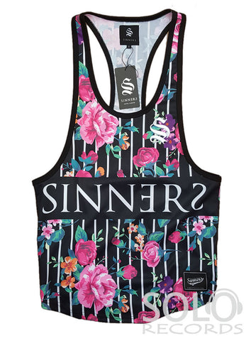 Sinners floral stripe racerback white