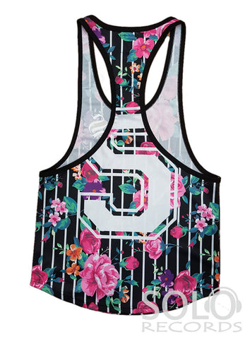 Sinners Floral Stripe Racerback / White