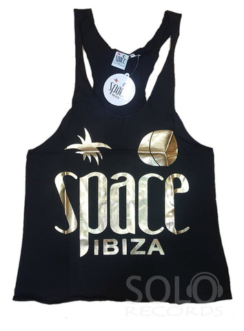 Women space ibiza gym vest black gold
