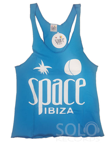 Women space ibiza gym vest blue white