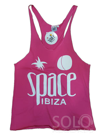 Women space ibiza gym vest pink white