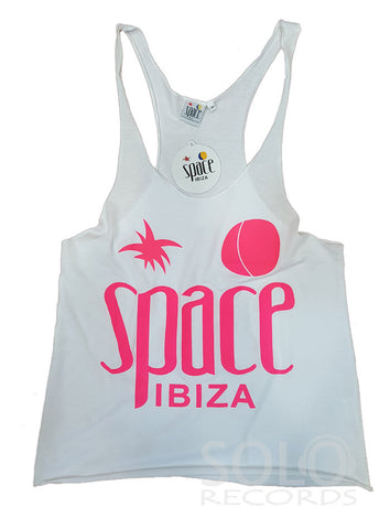 Women space ibiza gym vest white pink