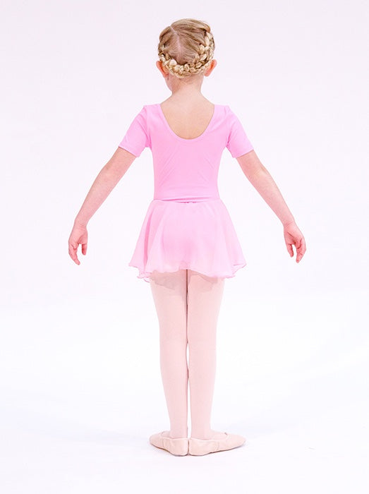 Pink Ballet Leotard For Girls with skirt by Dansez. For girls aged 3 4 5 or 6 years old