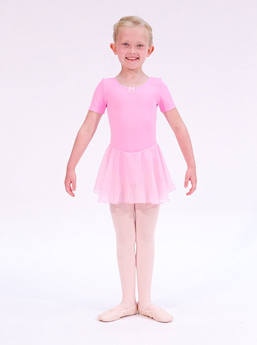 Girls pink skirted leotard by Dansez ballet leotard for girls aged 3 4 5 or 6 years old