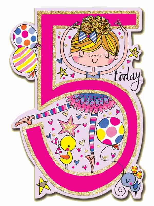Ballerina Birthday Card 5 Today