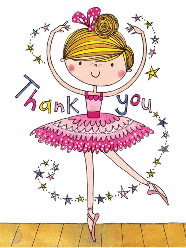 Ballerina Ballet Thank You Card By Rachel Ellen Designs - PDE Dance Supplies Thankyou Cards For Teachers