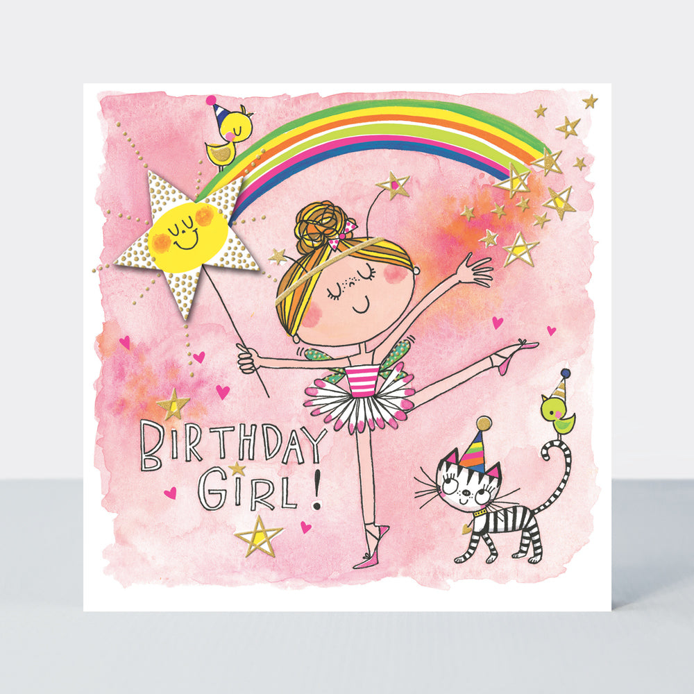 Ballerina Birthday Card Birthday Girl With Rainbow