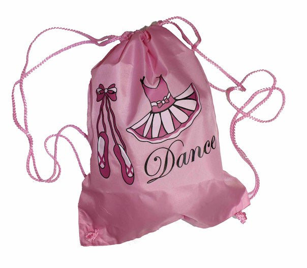 Ballerina Girls Pink Ballet Dance Bag Drawstring Childrens Kids Bags PDE Dance Supplies.