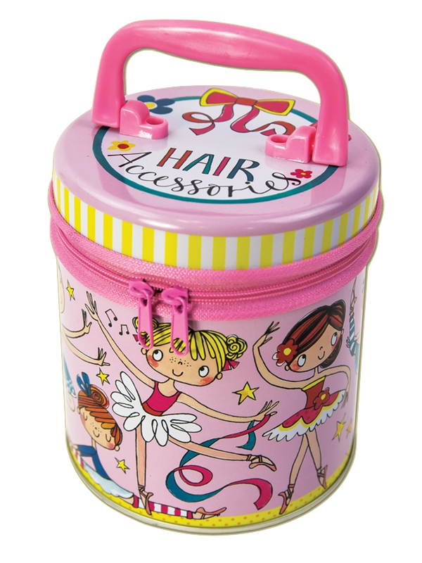 Ballerina Zipped Hair Tin Rachel Ellen Designs pink girls hair accessories tin