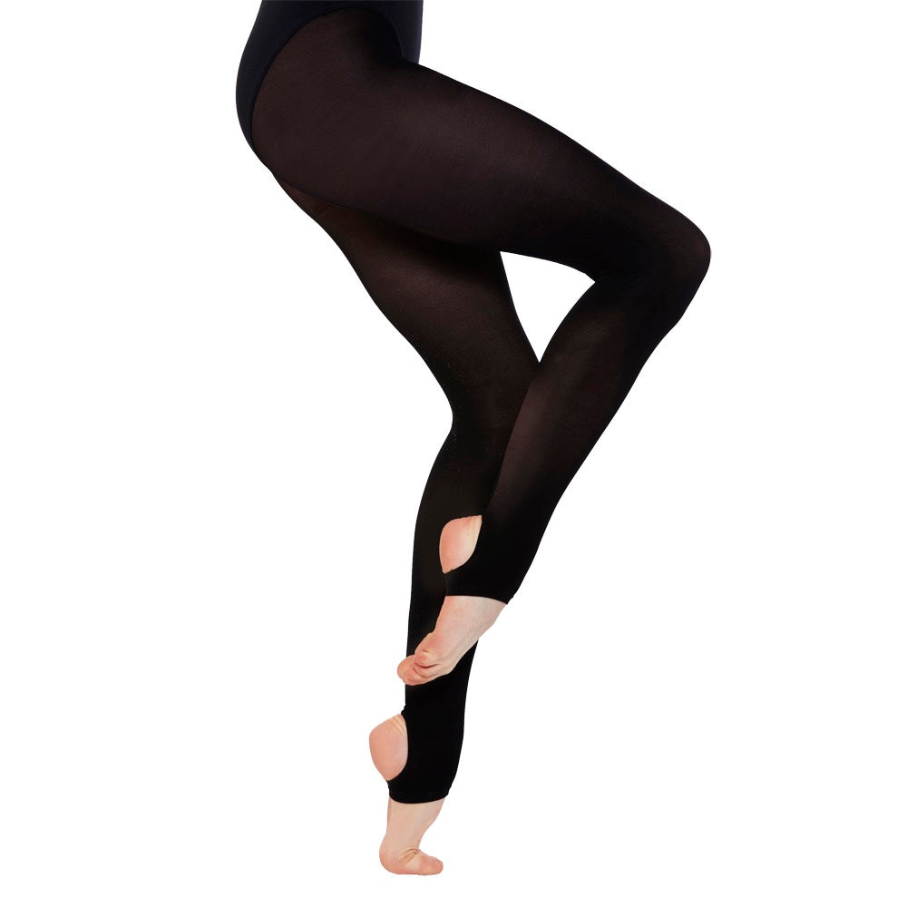 ** GIRLS BLACK FOOTLESS DANCE TIGHTS BY SILKY  VARIOUS SIZES NEW **
