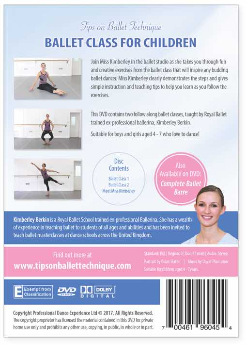 Kimberley Berkin's Ballet Class For Children DVD - for boys and girls aged 4 to 7 who love to dance.