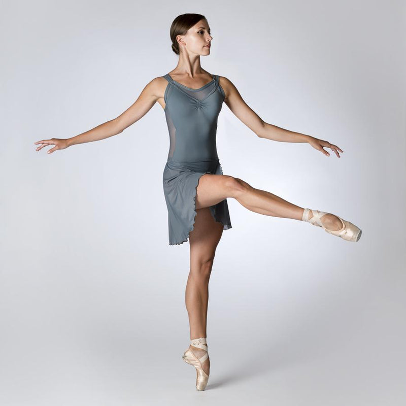 Front of Grey Camisole Leotard with Mesh Back by Dansez PDE Dance Supplies Ballet Leotards