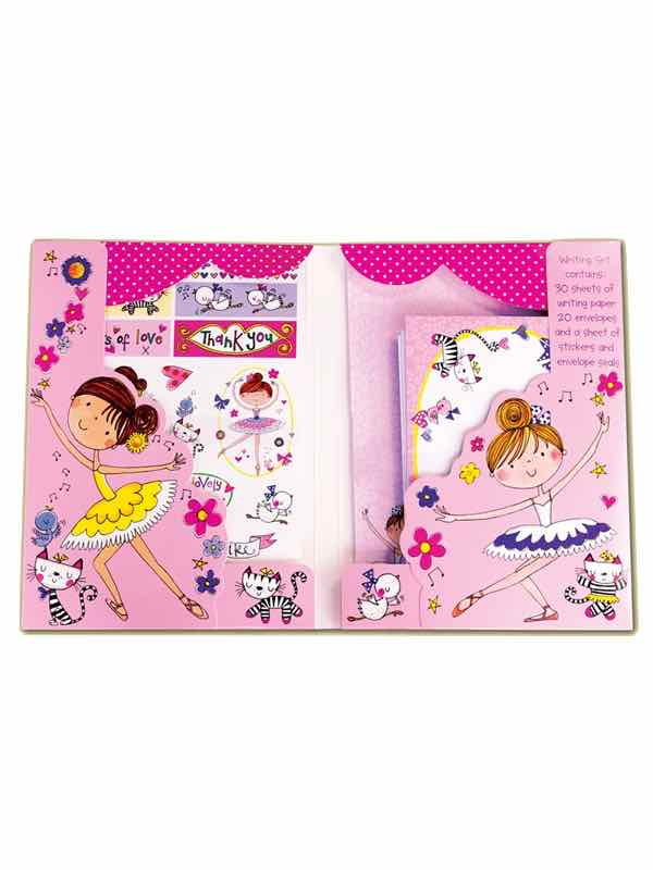 Little Ballerina Ballet Writing Set By Rachel Ellen Designs - Paper Stickers envelopes - Ballet Gifts For Girls