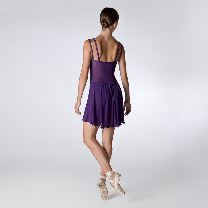 Purple Camisole Leotard with Mesh Back and fixed wrap skirt by Dansez PDE Dance Supplies Ballet Leotards