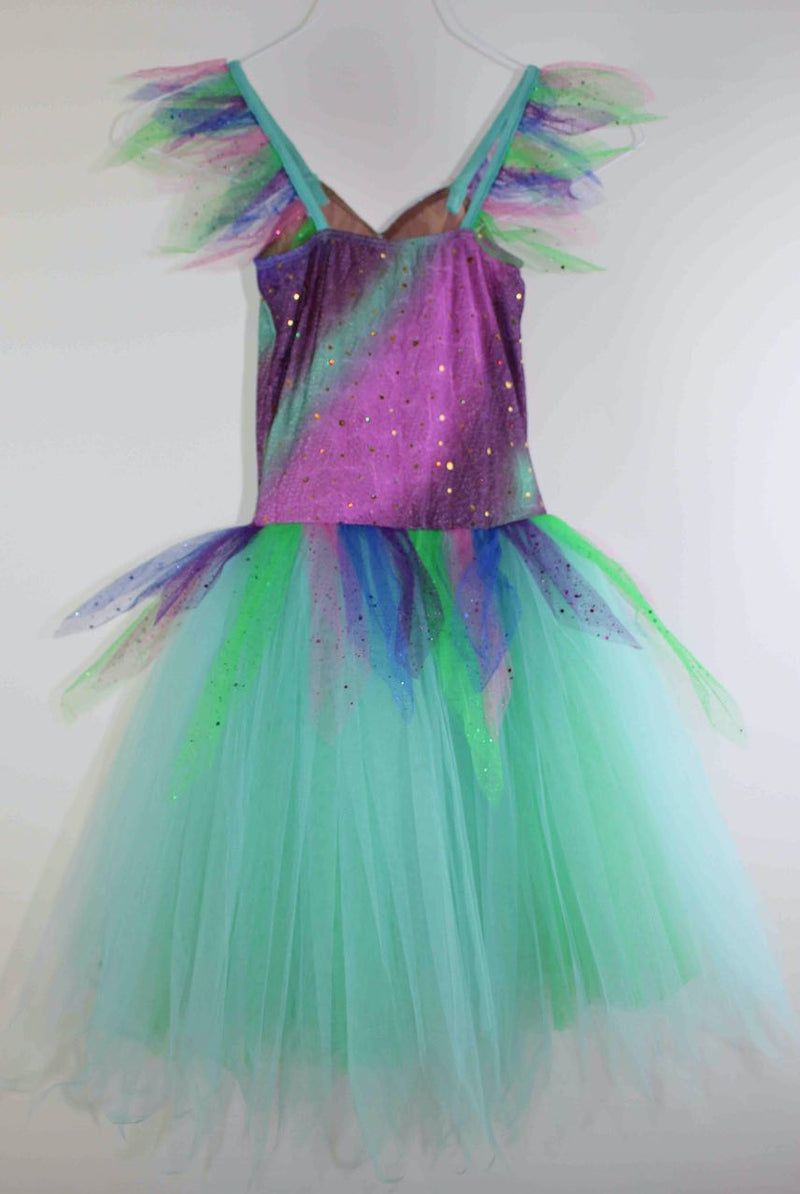 Children's Sized Multi Coloured Ballet Dress With Hairpiece