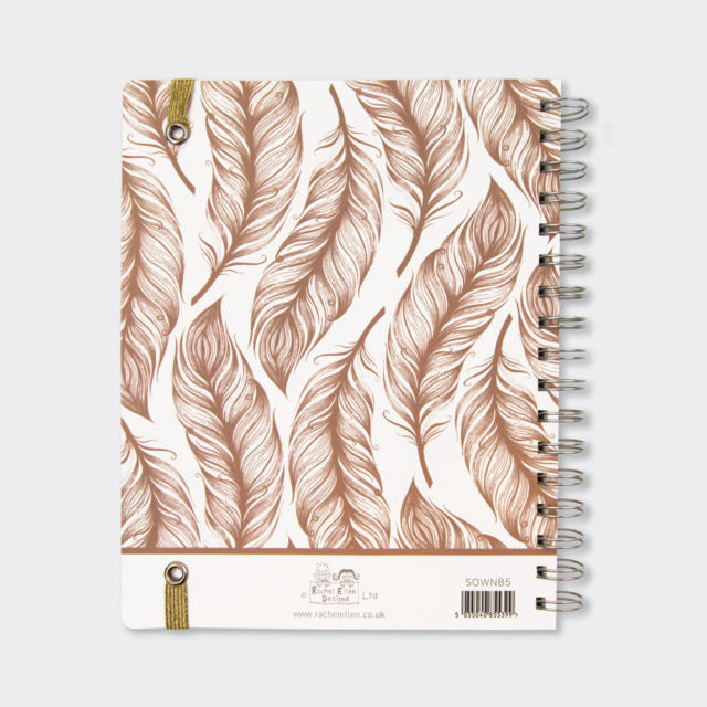 Wiro Notebook Lustre Rose Gold Feather Rachel Ellen Back