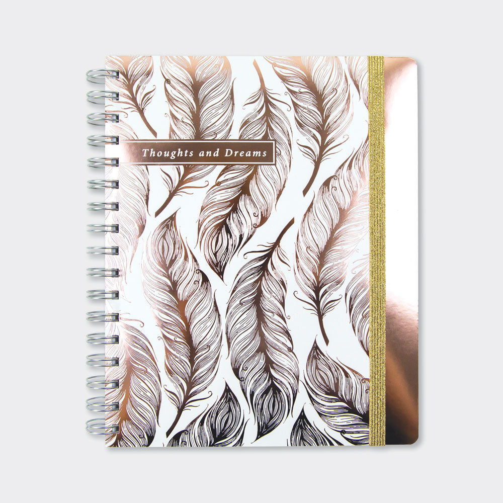 Wiro Notebook Lustre Rose Gold Feather Rachel Ellen