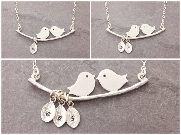 love birds necklace with personalized leaves
