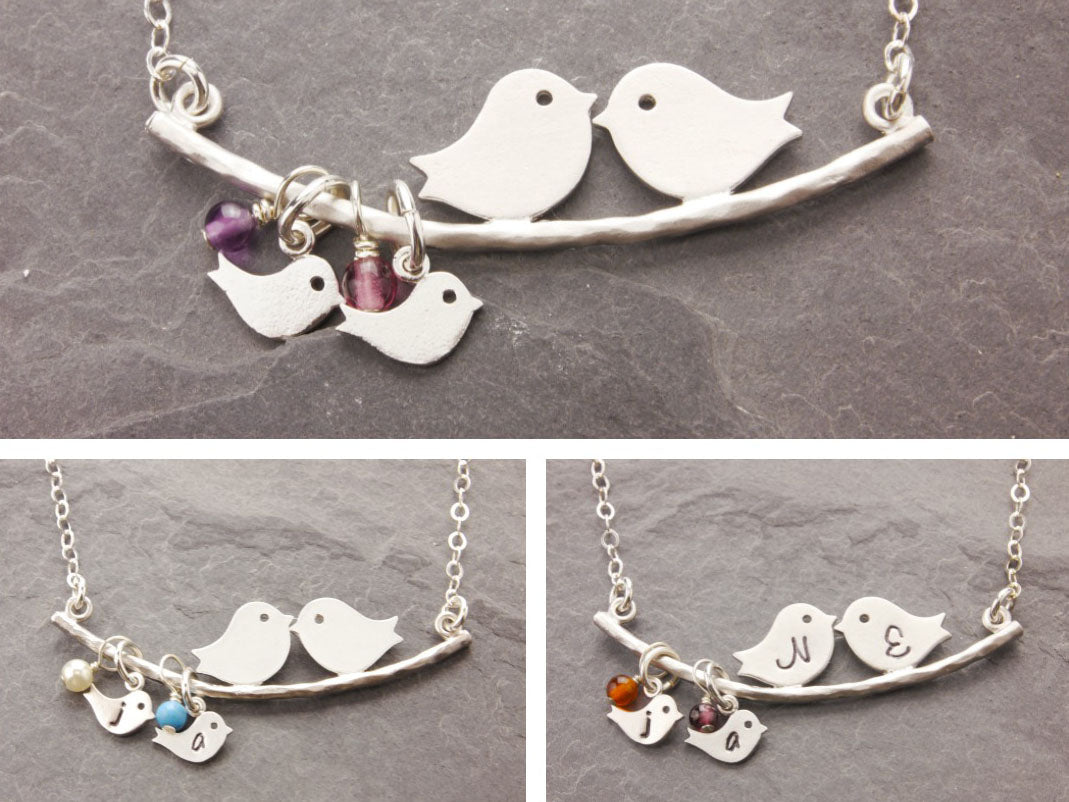 love birds necklace with birthstone