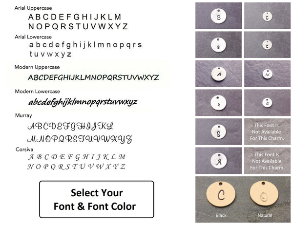 font and font options for the necklace