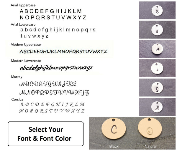 font and font color options for the necklace