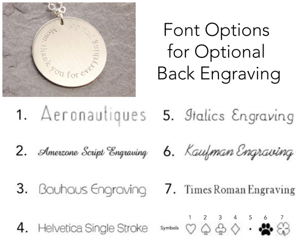 font options for back engraving