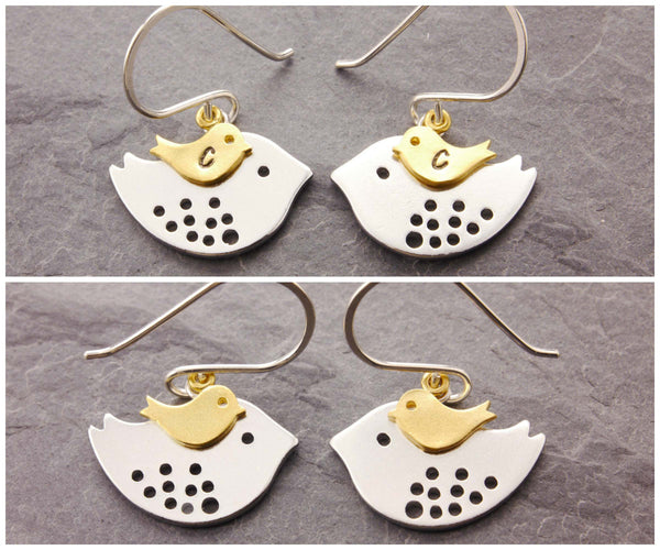 mom bird earrings personalized and non-personalized versions