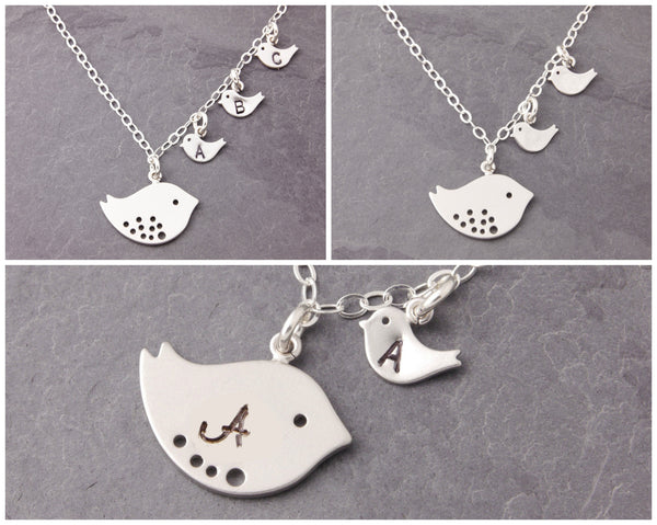 personalization options for the mom and chick necklace
