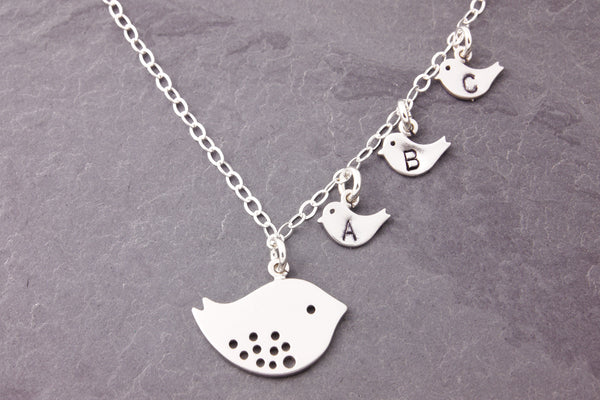 Personalized mother bird necklace
