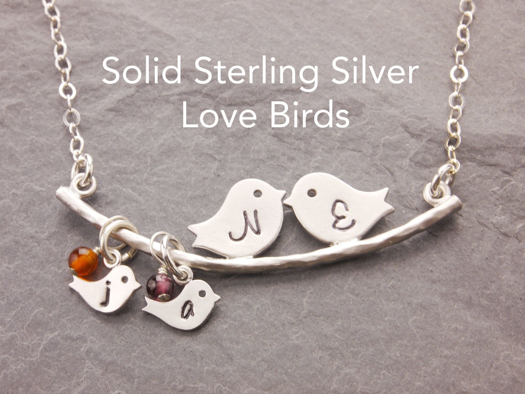 sterling love birds necklace with birthstone