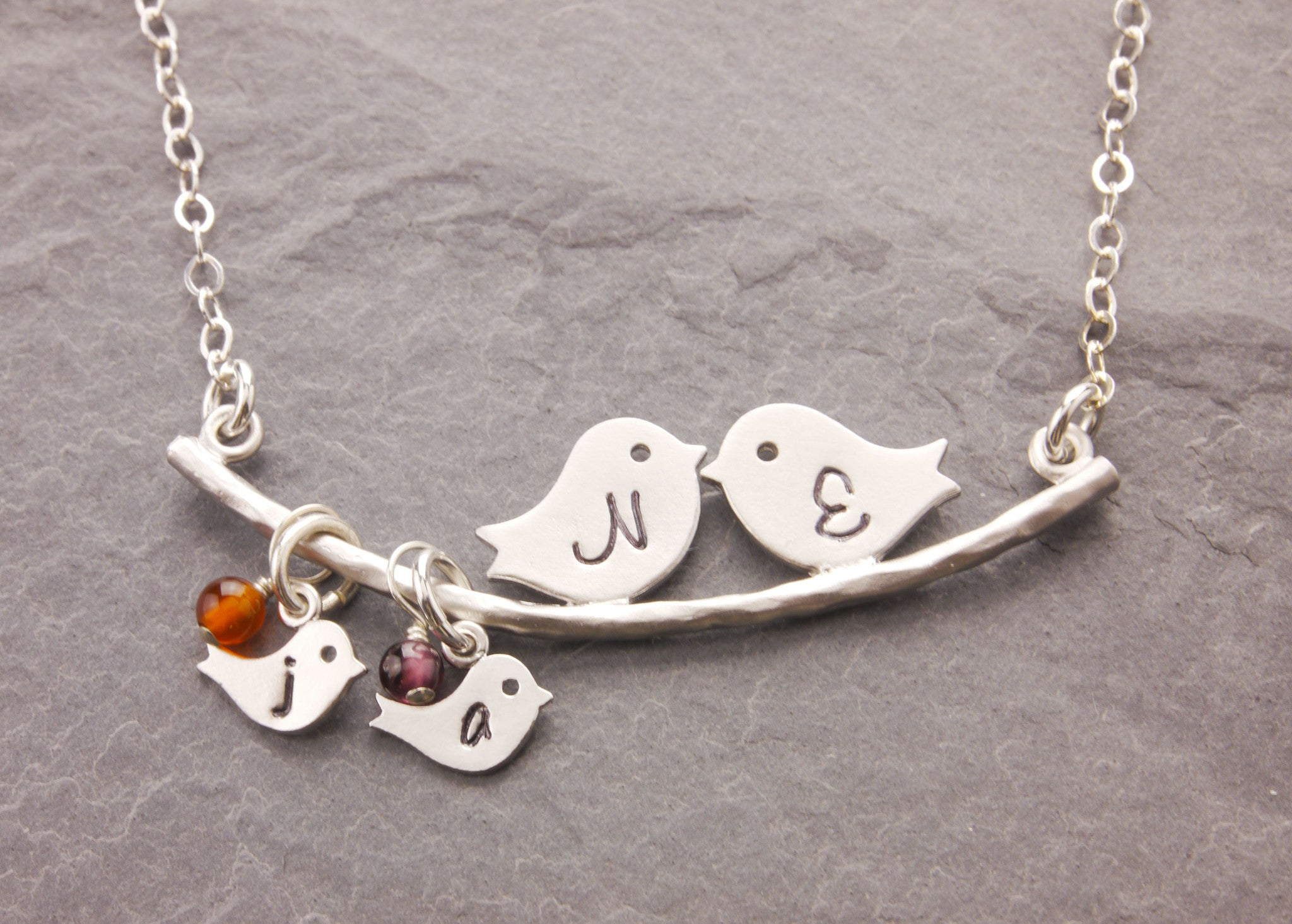 initialized love birds necklace with birthstones