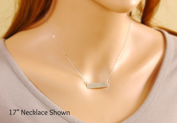 personalized bar necklace on a model