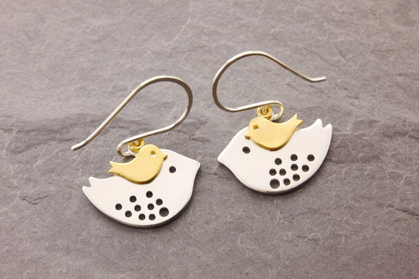 mother bird earrings