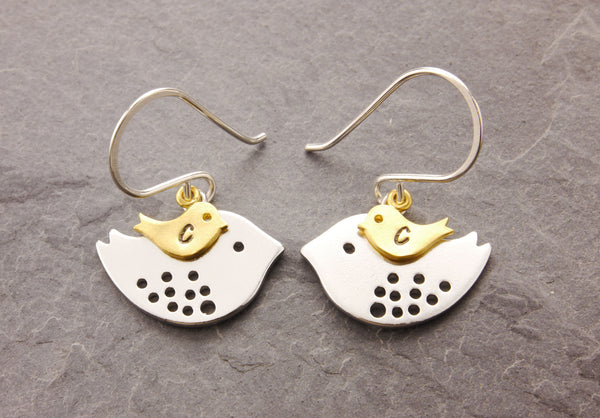 personalized mother bird earrings