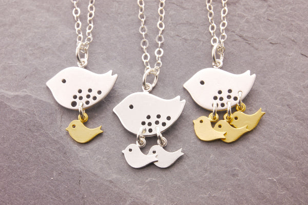 bird necklace with 1-3 baby birds