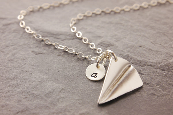 personalized airplane necklace