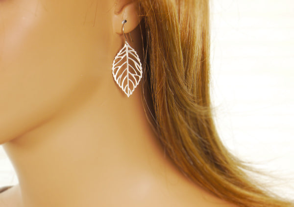 Leaf Earrings: Silver or Gold