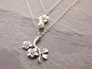 mother daughter cherry blossom necklaces