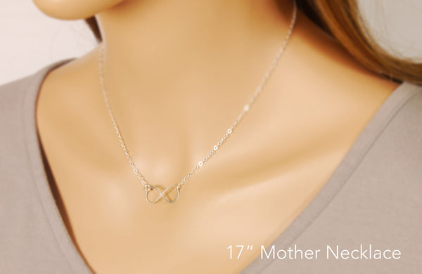 eternity necklace for mothers on a model