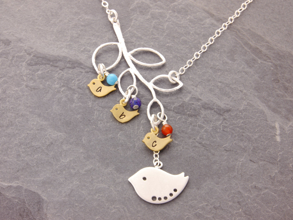 birds on branch necklace with birthstones