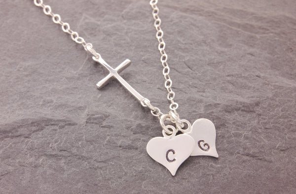 initial cross necklace