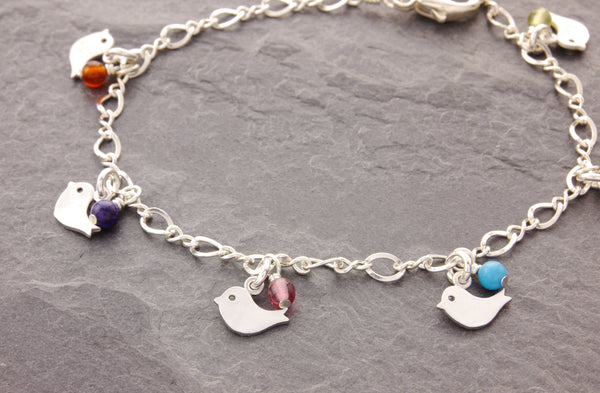 mother bird bracelet with birthstones