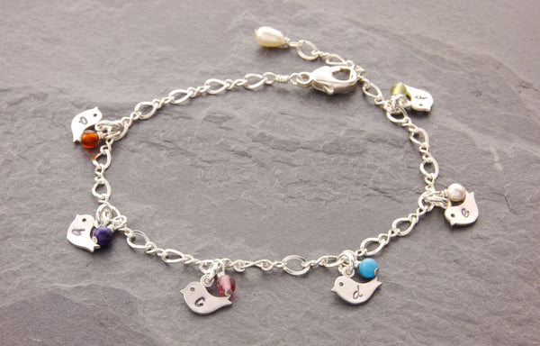 mom and chick bracelet with birthstones