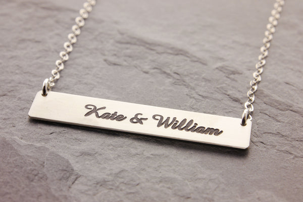 engraved silver bar necklace