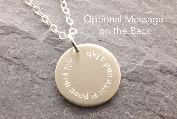 optional engraving on the back of the pendant
