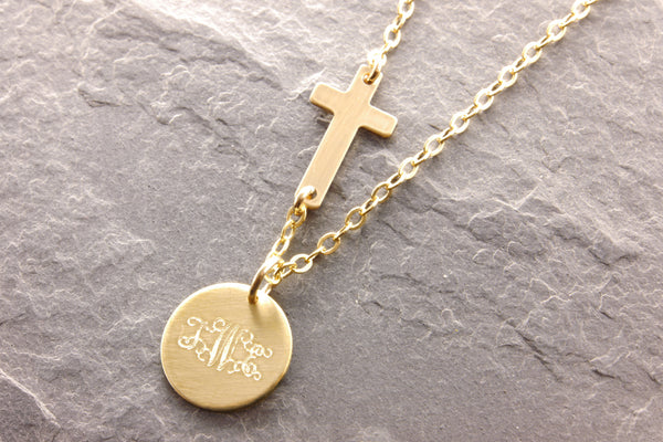 Cross Necklace: Monogram (1-2 Monograms)